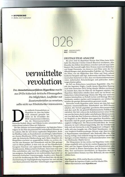"""Vermittelte Revolution"" by Joachim Schätz in THE GAP 114"